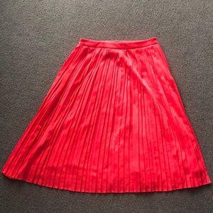 Banana Republic Bright Red Pleated Midi Skirt